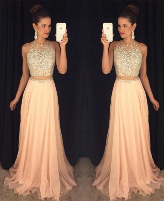 Cute Two Piece Major Beading Prom Dess New Arrival Chiffon Formal Occasion Dresses GA017_3