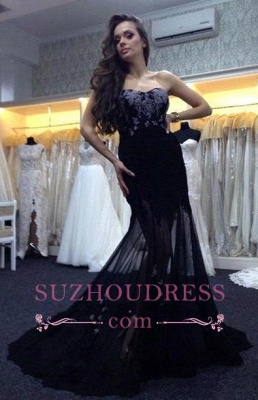 Long Mermaid Sweetheart  Prom Dresses Applique Sexy Black Evening Gowns_3