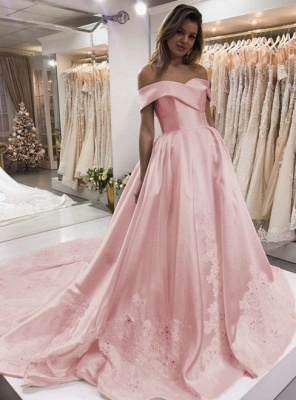 Pink Puffy Off the Shoulder Evening Dresses | Appliques Beaded Formal Dress_3