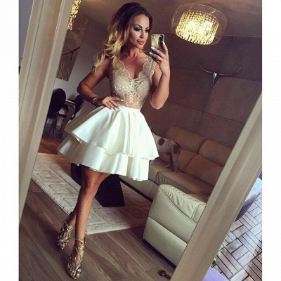 V-neck Illusion Lace Homecoming Dresses  Tiered Short Hoco Dress  Online_3