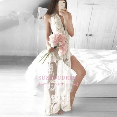 Sleeveless Lace Front Split  Formal Dress Mermaid Sexy V-neck Floor Length Evening Dress_3