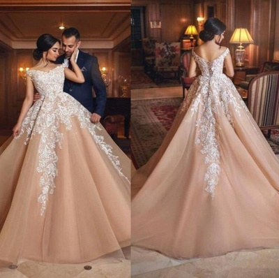 Gorgeous Champagne Appliques Wedding Dresses  | A Line Off-the-shoulder Bridal Gowns_4