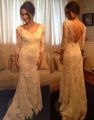 Prom Dresses Scoop Long Sleeve Appliques Mermaid Sweep Train Zipper White Evening Gowns_1