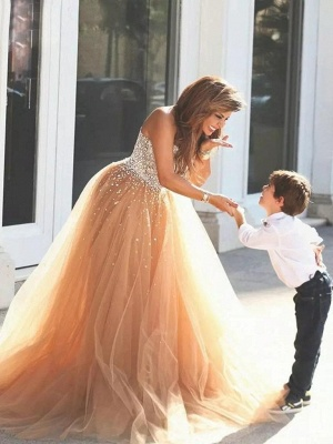 Elegant Sweetheart Tulle Prom Dresses Tulle Evening Dresses with Beadings_3