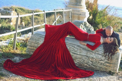 Elegant Ruby Velvet Long Sleeve Evening Dress with belt Chapel Train Mermaid Sexy Party Dresses_5