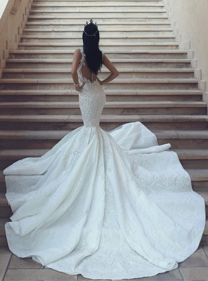 Elegant V-Neck Sleeveless Wedding Dresses | Mermaid Lace Bridal Gowns with Buttons BA9550_3