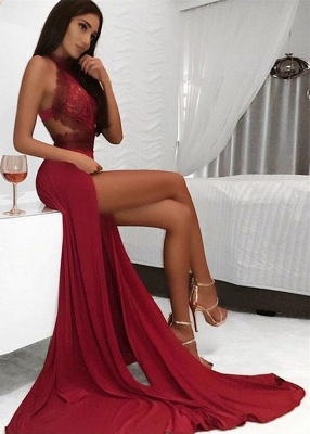 Sexy High Neck Lace Burgundy Prom Dress Sexy Slit Open Back Evening Dresses with Appliques_1