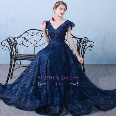 V-Neck A-line Elegant Lace Beading Dark-Navy Prom Dresses_6