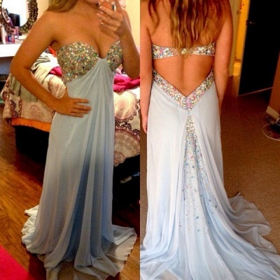 Crystal Sweetheart Chiffon Prom Dress New Arrival Open Back Sleeveless Evening Gowns_1