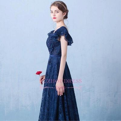 V-Neck A-line Elegant Lace Beading Dark-Navy Prom Dresses_4