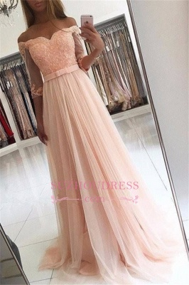 A-line Lace Glamorous Half Sleeves Evening Gown   Off The Shoulder Tulle Prom Dresses_2