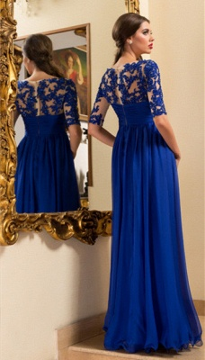 A-line Empire Royal Blue Evening Gown Crystal Half Sleeve Chiffon Prom Dresses_3