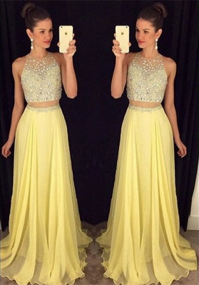 Cute Two Piece Major Beading Prom Dess New Arrival Chiffon Formal Occasion Dresses GA017_1