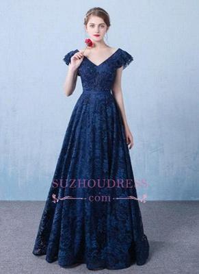 V-Neck A-line Elegant Lace Beading Dark-Navy Prom Dresses_2