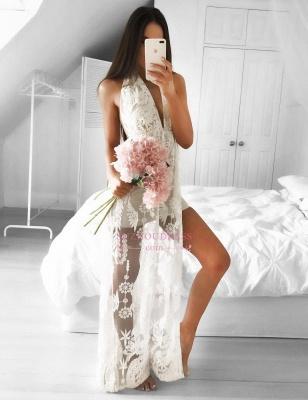 Sleeveless Lace Front Split  Formal Dress Mermaid Sexy V-neck Floor Length Evening Dress_4