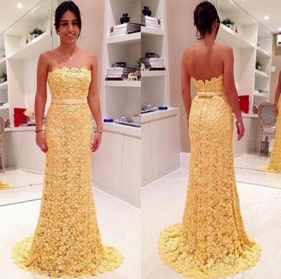 Yellow Elegant Strapless Lace Evening Dress Sheath Bowknot Sweep Train Prom Dresses_2