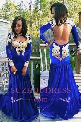 Royal Blue Evening Dress Appliques Gorgeous Long Sleeve Zipper Mermaid  Velvet Prom Dress_2