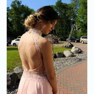 Sequins Halter Prom Dresses With Slit Chiffon Backless Evening Gowns CE061_3