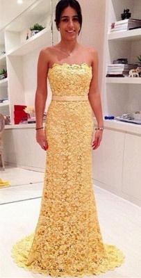 Yellow Elegant Strapless Lace Evening Dress Sheath Bowknot Sweep Train Prom Dresses_1