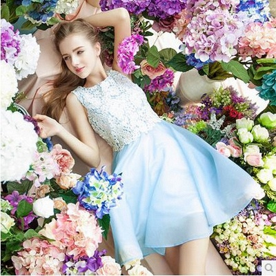 Baby Blue Chiffon White Lace Party Dresses  Lovely Sleeveless  Homecoming Dress CE0228_4
