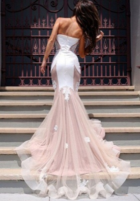 Sexy Mermaid Sweetheart Tulle Long Evening Dress Lace Custom Made  Evening Party Dresses_5