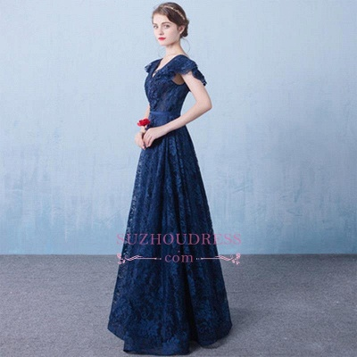 V-Neck A-line Elegant Lace Beading Dark-Navy Prom Dresses_5