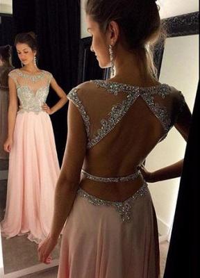New Arrival Halter Chiffon  Prom Dress A-Line Open Back Floor Length Evening Gown GA030_1