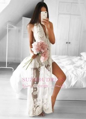 Sleeveless Lace Front Split  Formal Dress Mermaid Sexy V-neck Floor Length Evening Dress_1