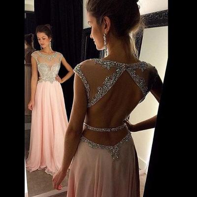 New Arrival Halter Chiffon  Prom Dress A-Line Open Back Floor Length Evening Gown GA030_3