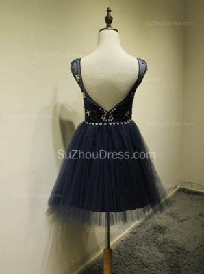 Cute Blue Tulle Mini Cocktail Dresses with Beadings Short Elegant Open Back Fashionable Dresses for Juniors_3