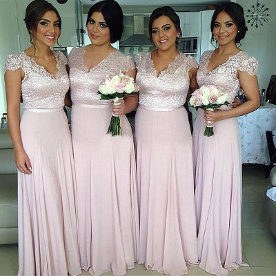 Pink Lace Chiffon Cap Sleeves V-neck  Bridesmaid Dresses  Long Wedding Party Dress_1