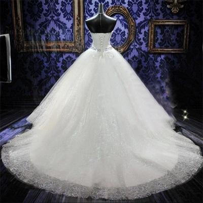 Rhinestone Cathedral Train Lace Wedding Dresses Lace-Up Elegant Sleeveless  Bridal Gowns_2