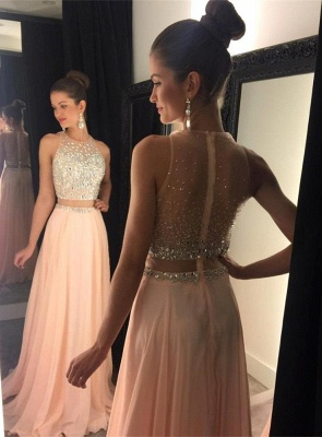 Cute Two Piece Major Beading Prom Dess New Arrival Chiffon Formal Occasion Dresses GA017_4