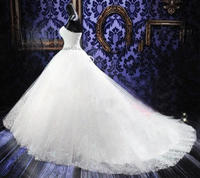 Rhinestone Cathedral Train Lace Wedding Dresses Lace-Up Elegant Sleeveless  Bridal Gowns_3