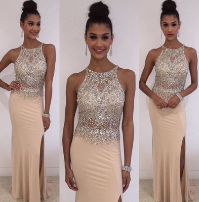 New Arrival Crystal Sleeveless Prom Dresses Side Slit Floor Length Party Gowns BA3098_3