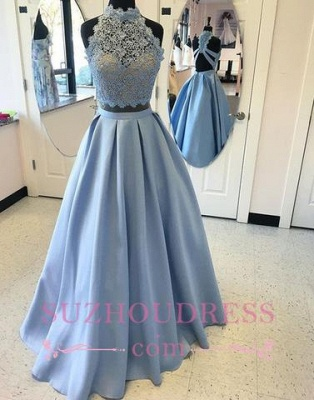 A-line Two-pieces Long  High-neck Lace Blue Prom Dress_2
