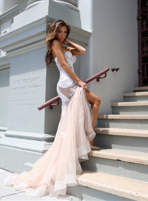 Sexy Mermaid Sweetheart Tulle Long Evening Dress Lace Custom Made  Evening Party Dresses_2