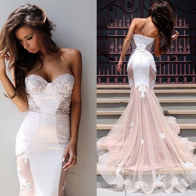 Sexy Mermaid Sweetheart Tulle Long Evening Dress Lace Custom Made  Evening Party Dresses_4