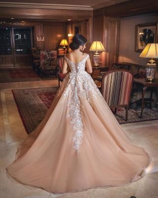 Gorgeous Champagne Appliques Wedding Dresses  | A Line Off-the-shoulder Bridal Gowns_3