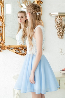 Baby Blue Chiffon White Lace Party Dresses  Lovely Sleeveless  Homecoming Dress CE0228_3