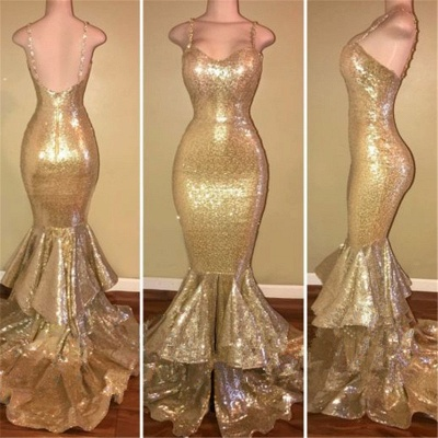 Spaghetti Straps Mermaid Sequins Prom Dress Champagne Gold Tiered Ruffles Sexy  Evening Gown BA7627_3
