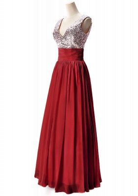 Sexy V-Neck  Prom Dresses Sequined Choffpn Long  Evening Gowns_4