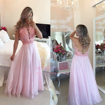 Sexy Pink Appliques A-Line Crystal Sheer-Tulle Prom Dresses_1