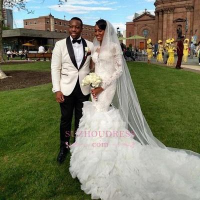 Lace-Appliques Long-Train Delicate Mermaid Ruffles Wedding Dress_1