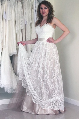 Long A-line Simple Sweetheart Lace Sash  Sleeveless Wedding Dress_2