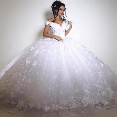Off The Shoulder V-neck Princess Wedding Dress Lace appliques  Ball Gown Bride Dress BA3053_1