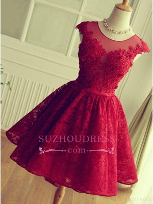 Cap Sleeves Lace Appliques A-Line  Short Homecoming Dresses_2