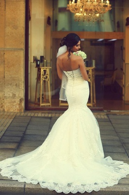Sweetheart White Lace Sexy Mermaid Bridal Gown Latest Sweep Train Lace-Up Plus Size Wedding Dresses_4