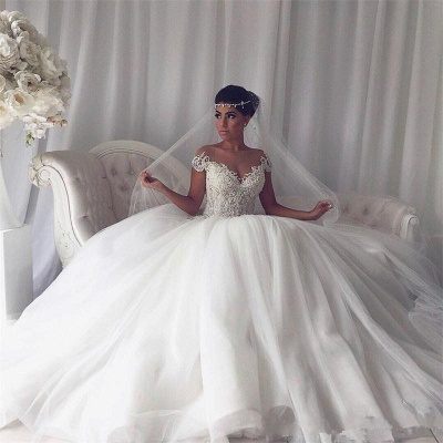 Stylish Ivory Off-the-shoulder Wedding Dresses Lace Bridal Gowns On Sale_4