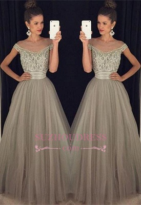 Beadings Crystal  Evening Gowns A-Line Glamorous Tulle Long Prom Dress BA7619_2